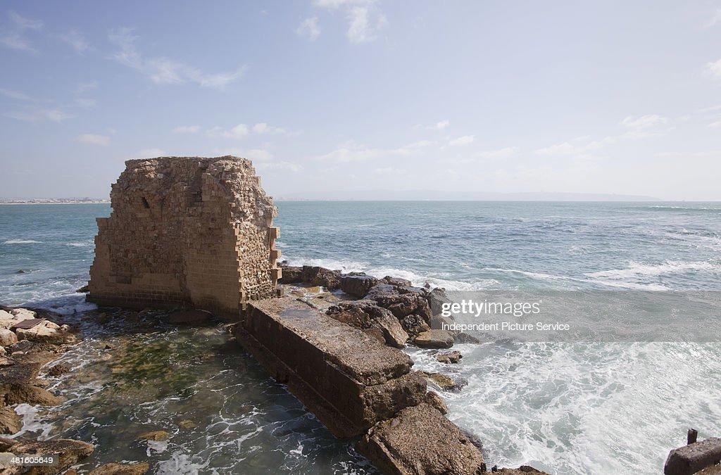 Deteriorating historic fortress walls at Acre Israel
