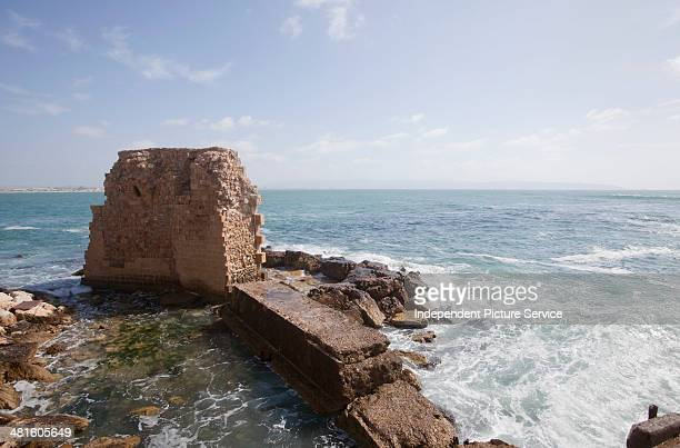 Deteriorating historic fortress walls at Acre Israel