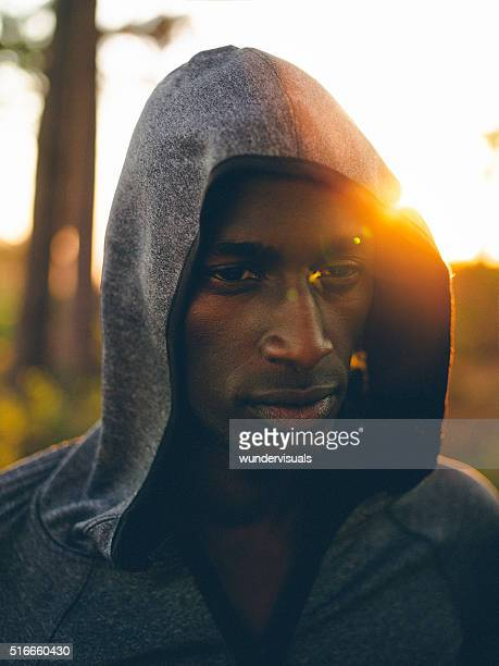 Determined african-american cross-country athlete planning his r