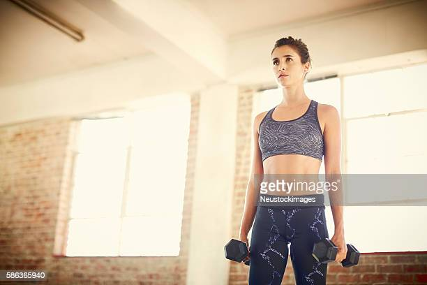 Determined attractive female holding dumbbells while looking awa