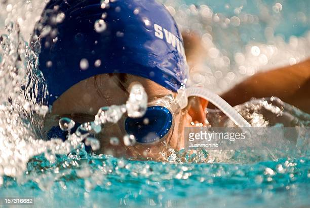 Determined Child Swimming
