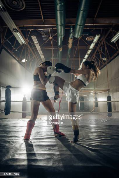 Determined female boxers fighting on a kickboxing match in a ring.