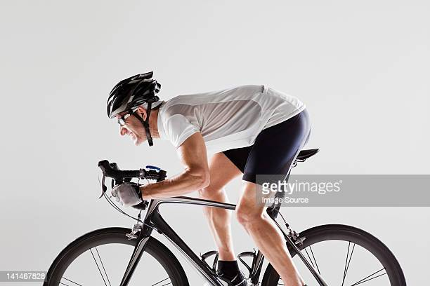 Determined male cyclist