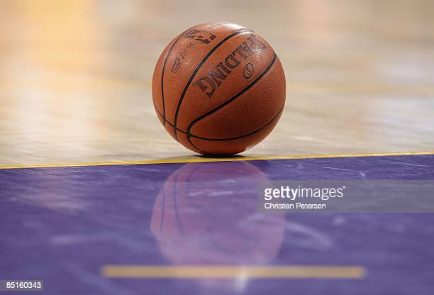 Detial of a NBA basketball during the NBA game between the Los Angeles Lakers and the Phoenix Suns at Staples Center on February 26 2009 in Los...