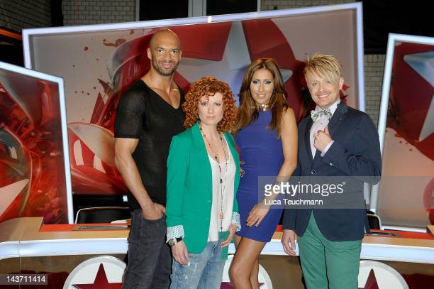 Detlef D Soost Lucy Diakovska Senna Guemmour and Ross Antony attend the Popstars Jury Photocall on May 3 2012 in Berlin Germany
