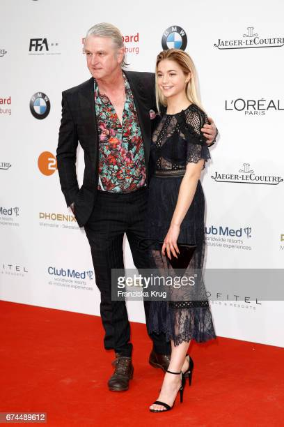 Detlev Buck and LisaMarie Koroll during the Lola German Film Award red carpet arrivals at Messe Berlin on April 28 2017 in Berlin Germany