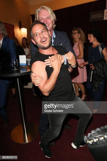Detlev Buck and Moritz Bleibtreu fights for fun during the premiere of 'Ferdinand von Schirach Schuld Staffel 2 ' at Gloria Palast on June 24 2017 in...