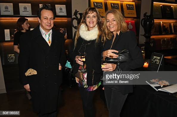 Detmar Blow Martha Fiennes and Georgia Byng attend the launch of 'The Night Before BAFTA' by Charles Finch at Maison Assouline on February 3 2016 in...