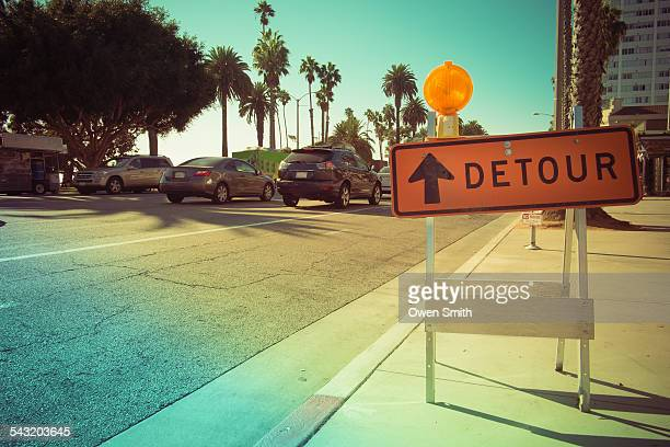 Detour roadwork sign on street, Santa Monica, California, USA