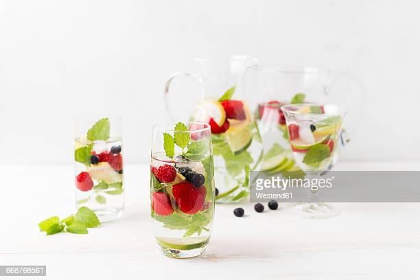 Detox water, infused water, strawberry, lemon, lemon balm, blueberry and raspberry