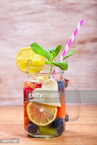 Detox water or infused water with fruits : Stock Photo