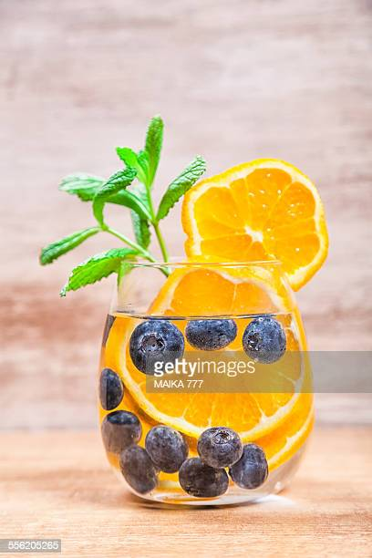 Detox water with blueberries and orange
