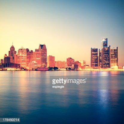 Detroit at sunset
