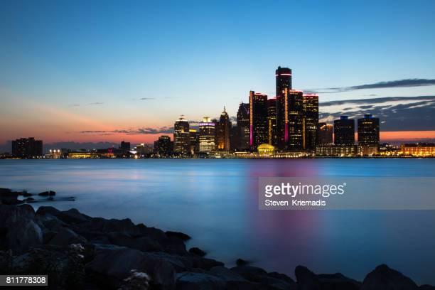 Detroit Cityscape at Dusk