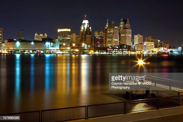 Detroit downtown by night