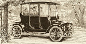 A Detroit Electric automobile is shown in an illustration from a magazine advertisement dated 1913 A man and three women are seated inside the car In...