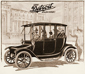 "A Detroit Electric automobile is shown in an illustration from a magazine advertisement that was published in 1913 The ad stated ""Prices on 1914..."