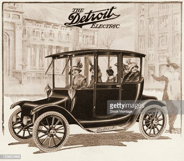 """A Detroit Electric automobile is shown in an illustration from a magazine advertisement that was published in 1913 The ad stated """"Prices on 1914..."""