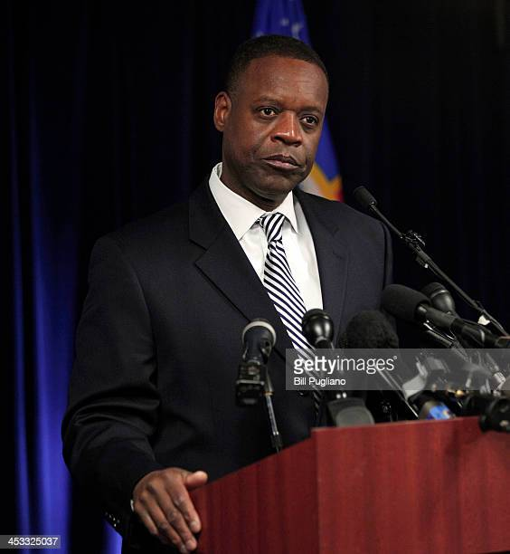 Detroit Emergency Manager Kevyn Orr holds a press conference to discuss federal bankruptcy Judge Steven Rhodes' ruling on Detroit's Chapter 9...