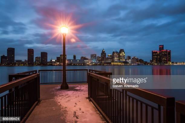 Detroit Evening Skyline View