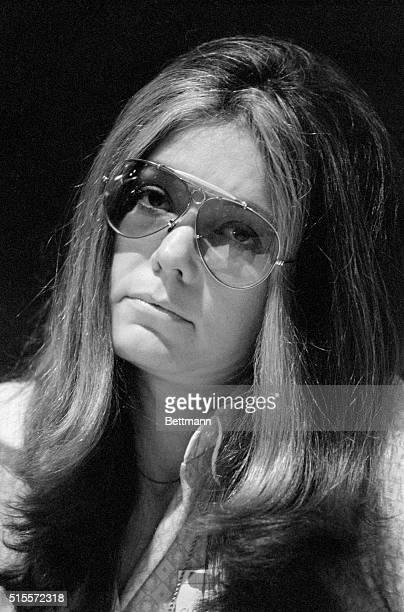 Gloria Steinem author and founder of the National Women's Political Caucus presents a somber study as she listens during the Democratic Party policy...
