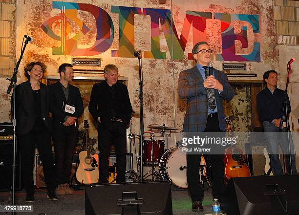 Detroit Institute of Music Education founders Sarah Clayman Kevin Nixon Bruce Dickinson and Beringea founder Charlie Rothstein far right listen to...