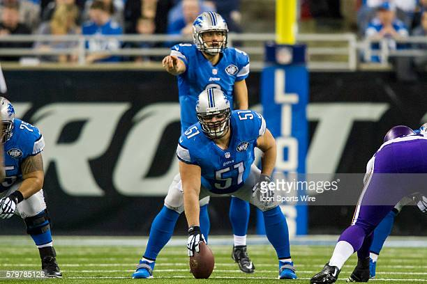 Detroit Lions center Dominic Raiola waits to snap the ball during game action between the Minnesota Vikings and Detroit Lions during a regular season...