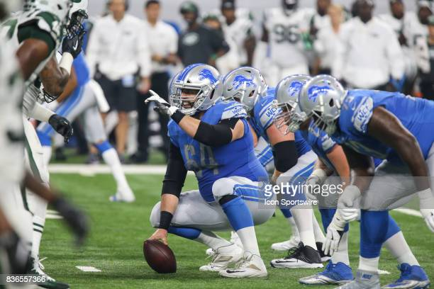 Detroit Lions center Travis Swanson calls out instructions at the line of scrimmage during a preseason game between the New York Jets and the Detroit...