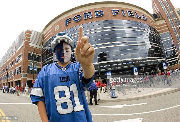 Detroit Lions fan Cody Lauinger in front of Ford Field before the Green Bay Packers vs Detroit Lions on September 14 2008 at Ford Field in Detroit...