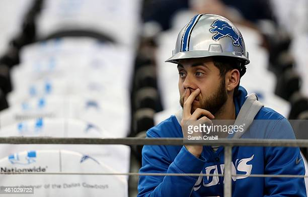 Detroit Lions fan looks on before a NFC Wild Card Playoff game against the Dallas Cowboys at ATT Stadium on January 4 2015 in Arlington Texas