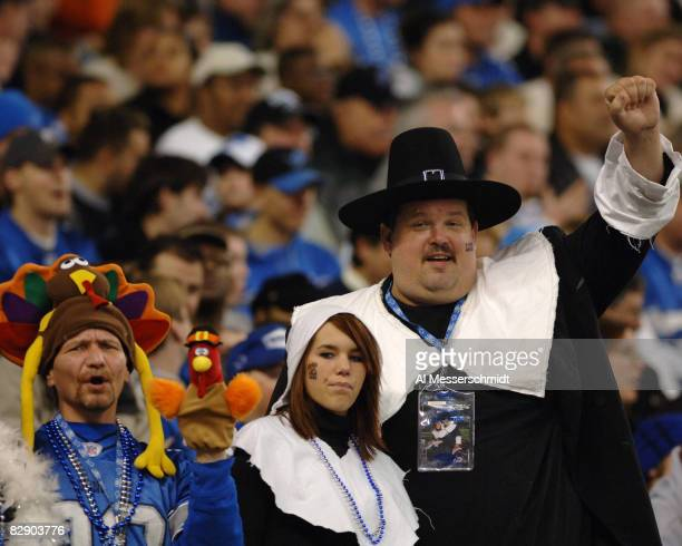 Detroit Lions fans are decked in Thanksgiving Day costumes November 24 at Ford Field Detroit The Atlanta Falcons defeated the Lions 27 7