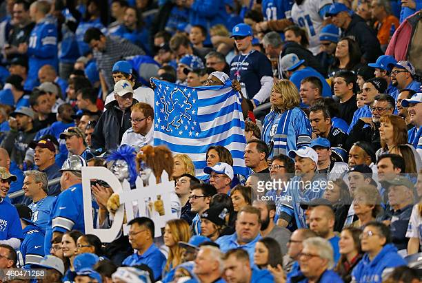 Detroit Lions fans celebrate a win over the Minnesota Vikings at Ford Field on December 14 2014 in Detroit Michigan The Lions defeated the Vikings...