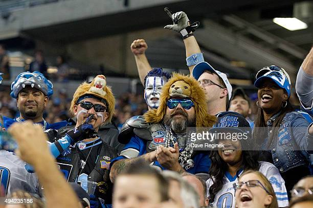 Detroit Lions fans cheer during the game against the Minnesota Vikings during an NFL game at Ford Field on October 25 2015 in Detroit Michigan