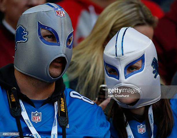Detroit Lions fans during the NFL game between Kansas City Chiefs and Detroit Lions at Wembley Stadium on November 01 2015 in London England