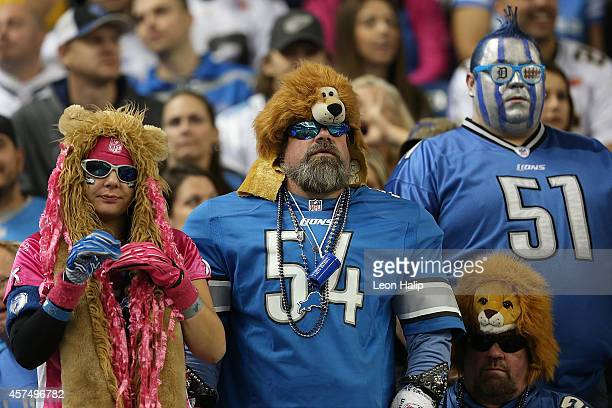 Detroit Lions fans look on during the first quarter of the game against the New Orleans Saints at Ford Field on October 19 2014 in Detroit Michigan