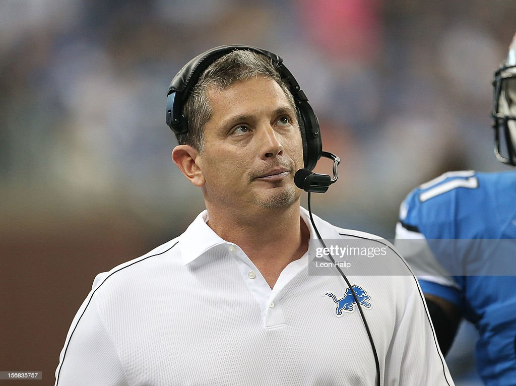 Detroit Lions head coach Jim Schwartz talks with NFL referee Walt Coleman during a disputed play during the game against the Houston Texans at Ford Field on November 22, 2012 in Detroit, Michigan. The Texans defeated the Lions 34-31.