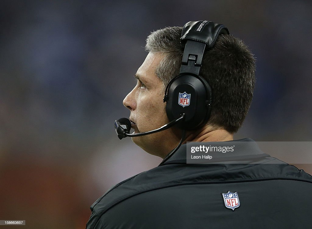 Detroit Lions head coach Jim Schwartz watches the action on the sidelines during the game against the Atlanta Falcons at Ford Field on December 22, 2012 in Detroit, Michigan. The Falcons defeated the Lions 31-18.