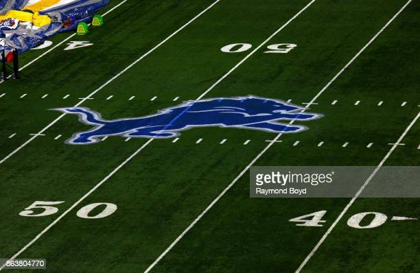 Detroit Lions logo at midfield at Ford Field home of the Detroit Lions football team in Detroit Michigan on October 12 2017