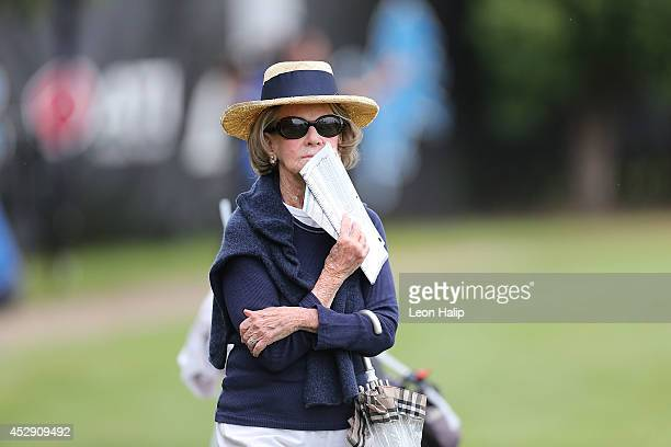 Detroit Lions Owner and Chairma Martha Firestone Ford watches the action during training camp at the Detroit Lions training facility on July 29 2014...