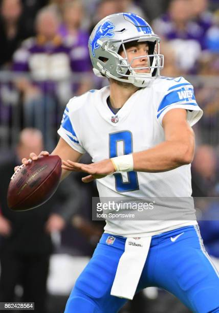 Detroit Lions quarterback Matthew Stafford makes a pass during a NFL game between the Minnesota Vikings and Detroit Lions on October 1 2017 at US...