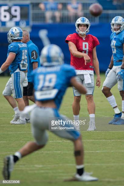 Detroit Lions quarterback Matthew Stafford passes downfield to Detroit Lions wide receiver Kenny Golladay during the Indianapolis Colts and Detroit...