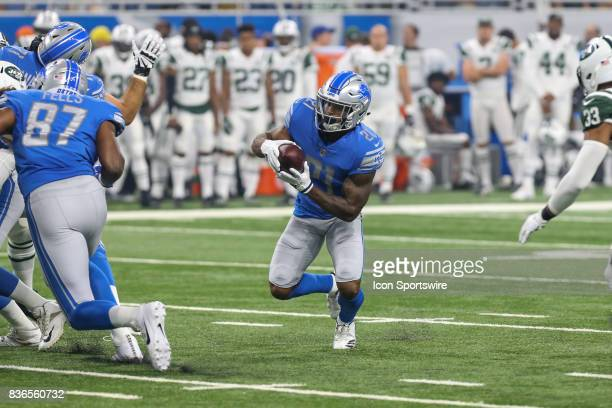 Detroit Lions running back Ameer Abdullah carries the ball during a preseason game between the New York Jets and the Detroit Lions on August 19 2017...