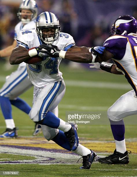Detroit Lions running back Kevin Jones tries to break to the outside against the Minnesota Vikings October 8 in the Metrodome in Minneapolis...