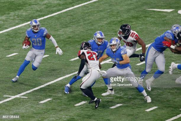 Detroit Lions running back Tion Green runs with the ball during game action between the Atlanta Falcons and the Detroit Lions on September 24 2017 at...