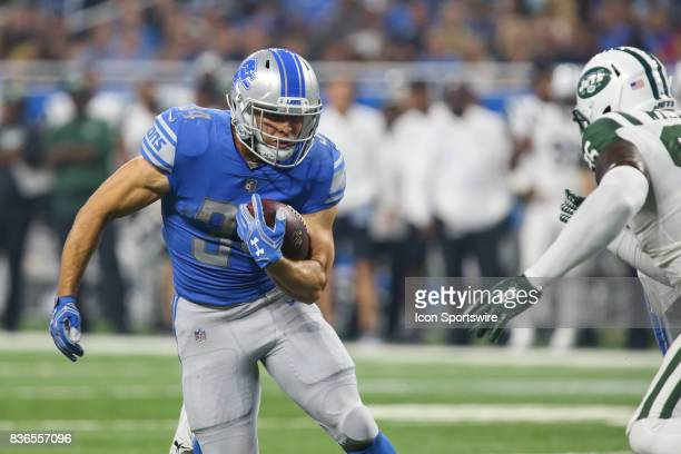 Detroit Lions running back Zach Zenner runs with the ball during a preseason game between the New York Jets and the Detroit Lions on August 19 2017...