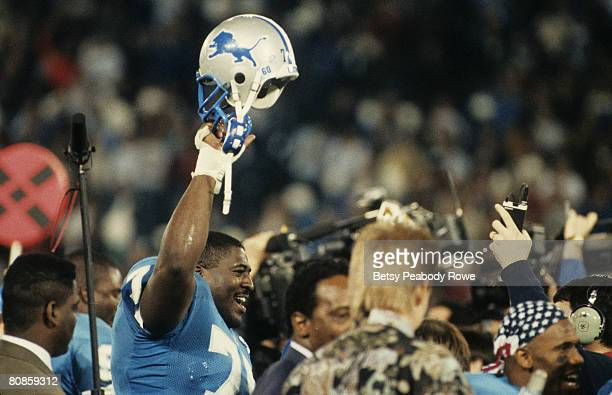 Detroit Lions tackle Lomas Brown is all smiles as he leaves the field following the Lions 386 victory over the Dallas Cowboys in the 1991 NFC...