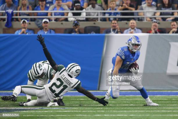 Detroit Lions wide receiver Jace Billingsley runs with the ball after catching a pass while New York Jets corner back Morris Claiborne tries to make...
