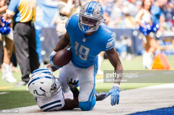 Detroit Lions wide receiver Kenny Golladay catches a touchdown pass during the NFL preseason game between the Detroit Lions and Indianapolis Colts on...