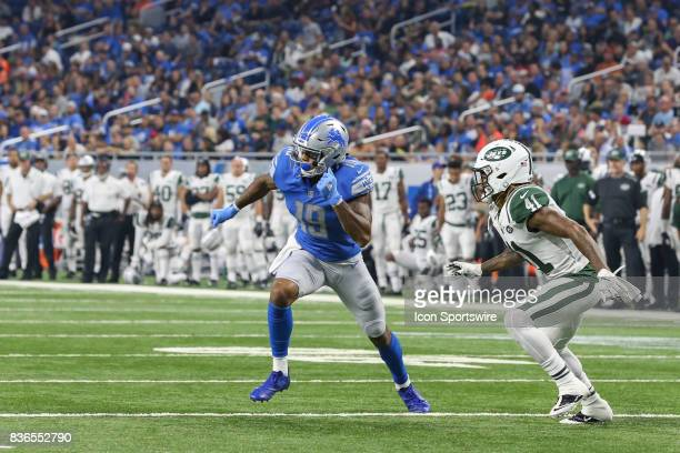 Detroit Lions wide receiver Kenny Golladay runs a pass route during a preseason game between the New York Jets and the Detroit Lions on August 19...