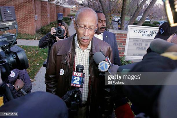 Detroit Mayor and former Detroit Pistons star Dave Bing speaks with the news media after voting in the mayoral election at St John's Presbyterian...
